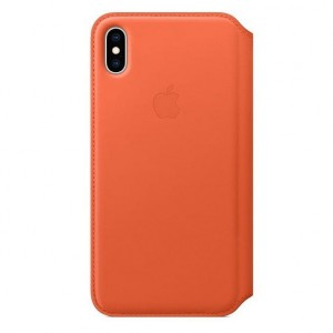 Apple Etui skórzane folio iPhone XS Max - oranż