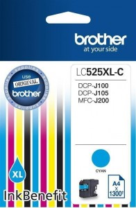 Brother Tusz LC525XLC CYAN 1300 do DCPJ100 DCPJ105